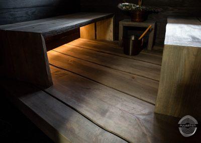 Live Edge Sauna Interior